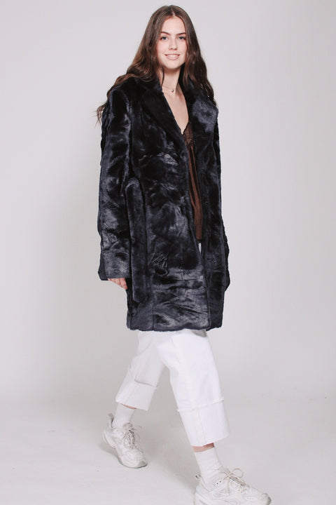 Barbara Faux Furcoat - Blue