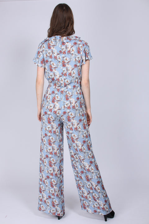 Flower Jumpsuit - Xenon Blue (1591911972899)