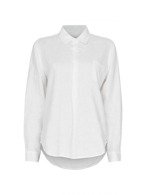 Mona Solid Linen Shirt - White