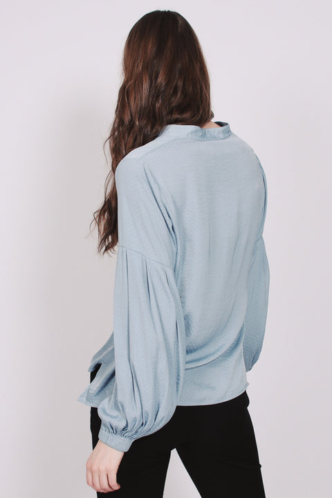 Gathered Cuff Blouse - Dusty Blue