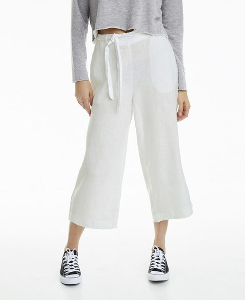 Leaf Linen Trouser - White