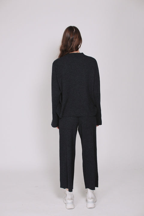 Lily Rib Pants - Anthracite Grey