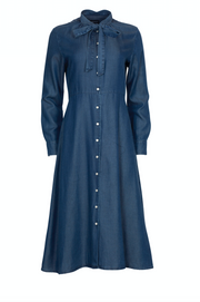 Chambray Bow Shirt Dress - Dark Indigo (1724541435939)