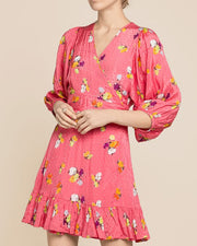 Delicate Wrap Dress - Red Blossom