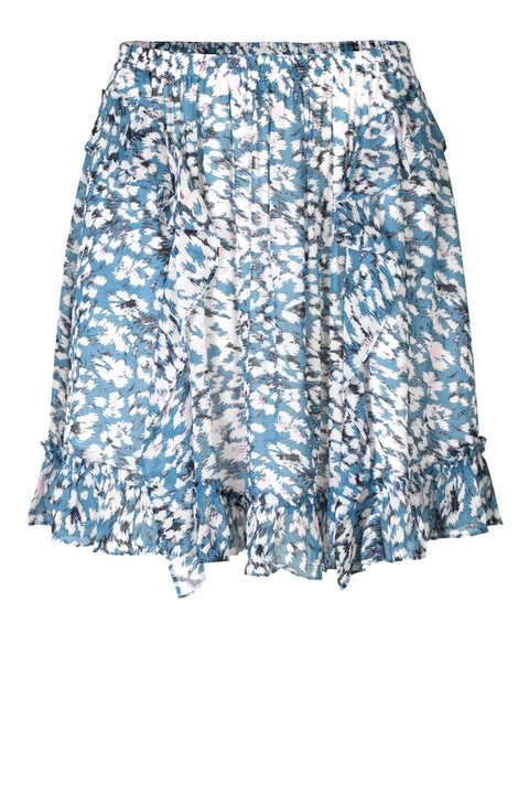 Clouds MW Short Skirt - Faded Denim