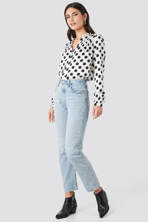 Big Dots Long Sleeve Blouse -White/Black (4102383632419)