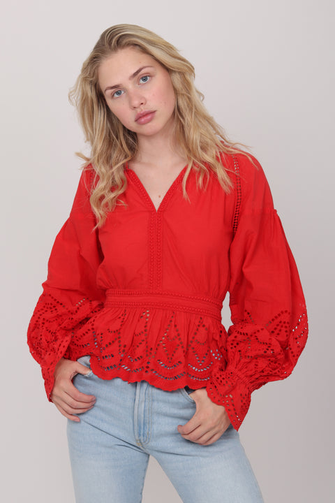 Agnes Blouse Waist - Red (1476699193379)