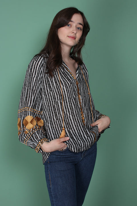 Day Crocus Top - Black (1525158871075)