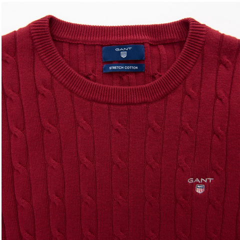 Stretch Cotton Cable Crew - Raspberry Red