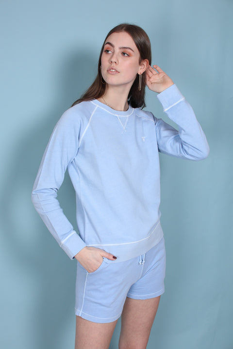 Sunbleached C-neck Sweat - Capri Blue (1511378485283)
