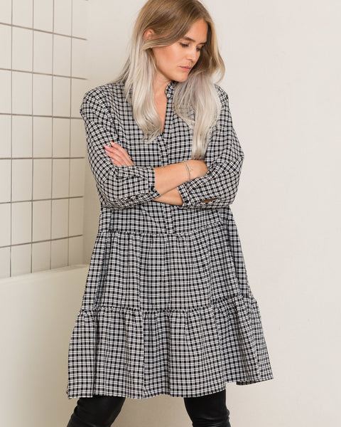 Fame Check Dress - Black (4294509920365)