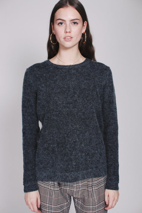 Brook Knit Raw O-neck - Dark Grey Melange