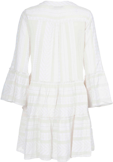 Ella Short Dress - Ecru/White