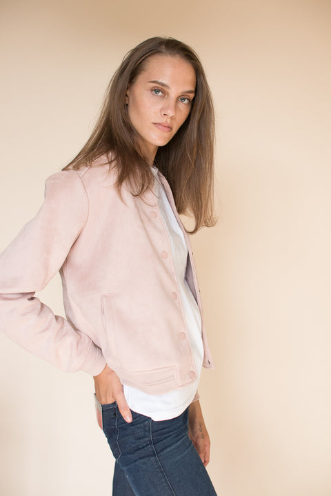 Suede Bomber - Dusty Pink