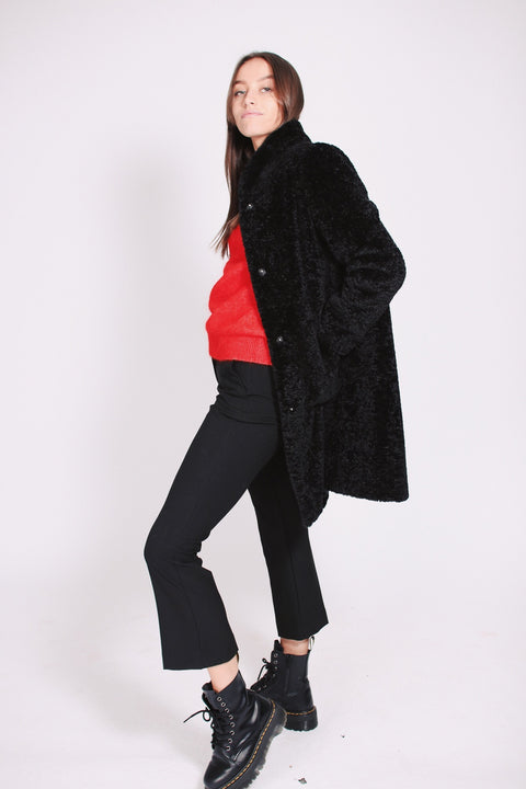 Pam Faux Fur Coat - Black
