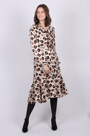 Leopard Printed Ruffle Dress - Cloud Dancer
