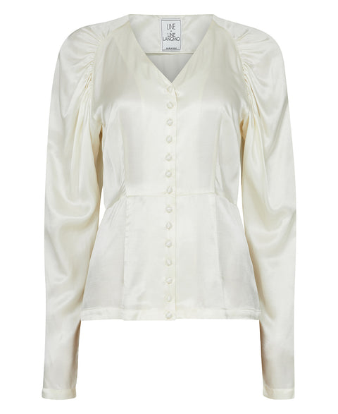 Peaches Short Solid Blouse - Creme (4466815271021)