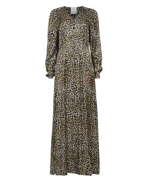 Peaches Long Print Dress - Brown (4466810519661)