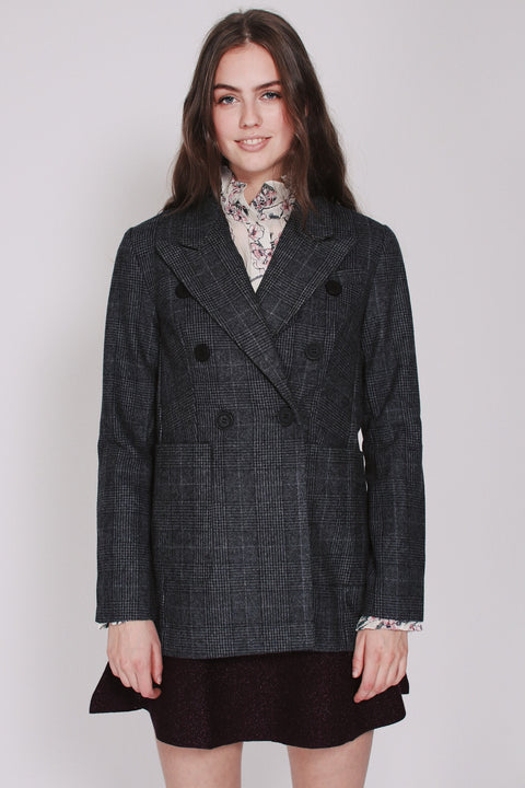 Eve Check Blazer - Grey (1865553641507)