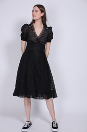 Victorian Organza Day Dress - Black (1644220416035)
