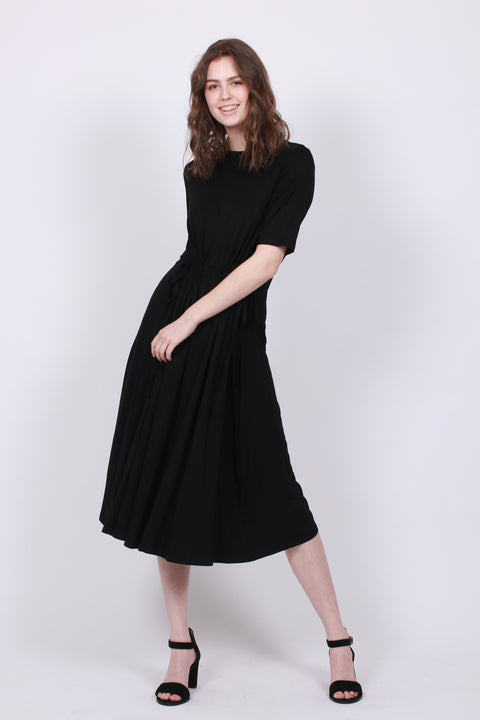 Gathered Long Knit Dress - Black