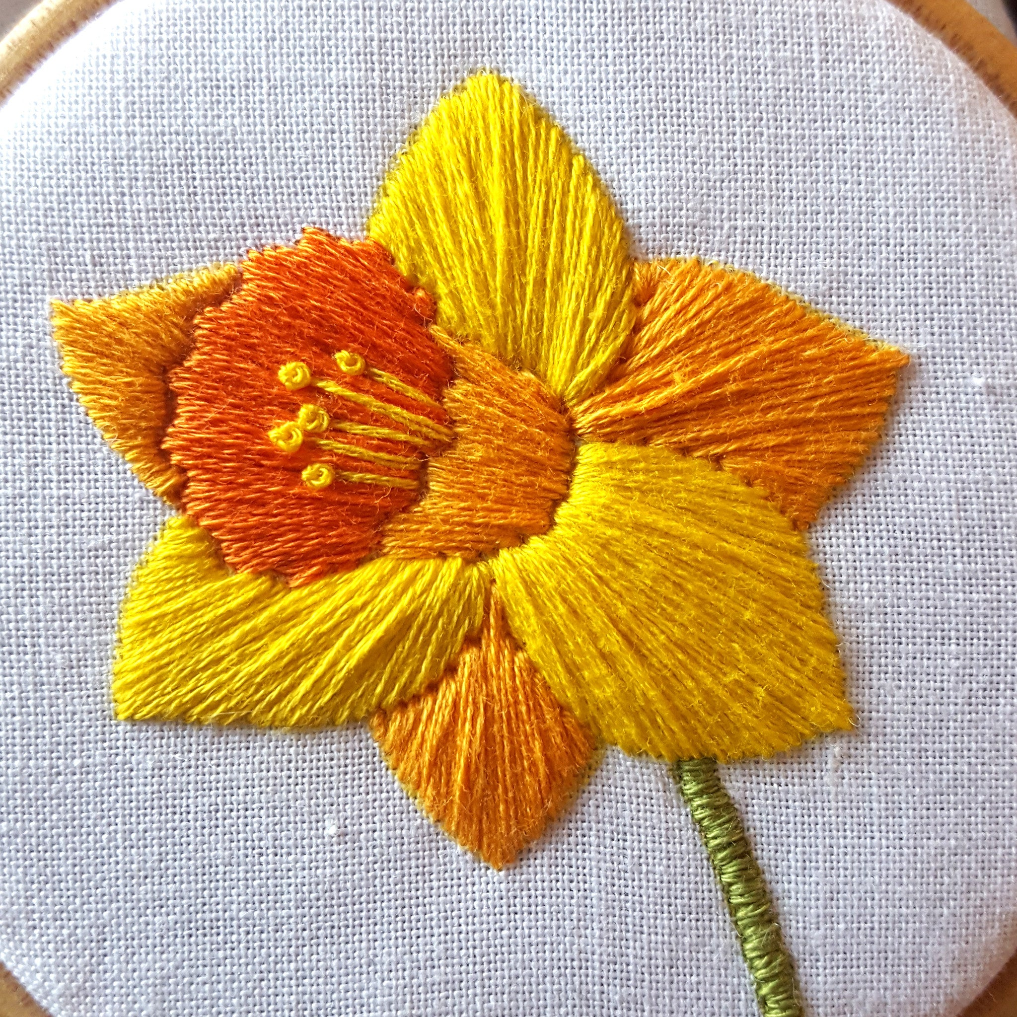 Free Easter Embroidery Pattern Daffodil Needlework Download Spring Hoop Art Flower