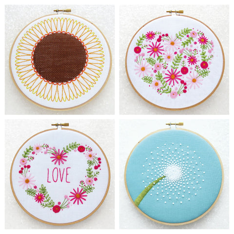 Floral Embroidery Kits, Flower Hoop Art, Spring Embroidery Pattern, Summer Craft Project