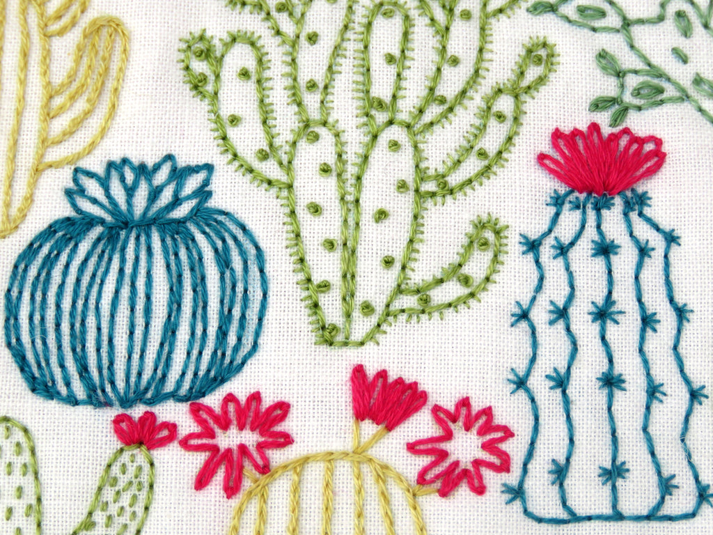 Succulents Stamped Fabric Embroidery Pattern Ohsewbootiful