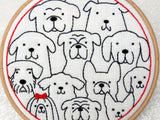 Dogs Embroidery Patttern, Stamped Embroidery Fabric