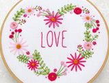 Pink Floral Heart Embroidery Kit, DIY Valentines Day Gift, Love Hoop Art, Anniversary Gift, Gift For Her, Gift For Mum, Mothers Day Gift
