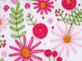 Hand Embroidered Roses, Pink Embroidery Flowers, Modern Embroidery Kit, Artisan Crafts, Mindfulness Crafts, Hygge Living