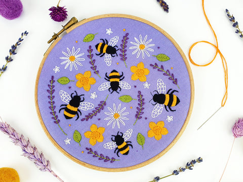 Bee Embroidery Kit, Bees And Wildflowers, Lavender Needlecraft Kit
