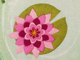 Lily Pad Stamped Embroidery Pattern, Pond Embroidery Fabric Pattern
