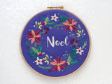 DIY Christmas, Xmas Embroidery Kit, Noel Hoop Art Kit, Festive Needlecraft