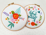Floral Bloom Embroidery Kit, Spring Flowers Hoop Art Kit