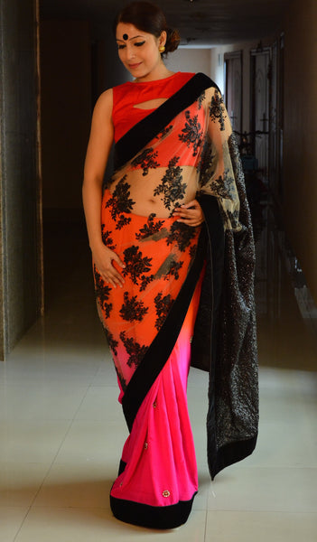 Chandri Mukherjee - Rani and Orange Sari with Net and Sequence Palu