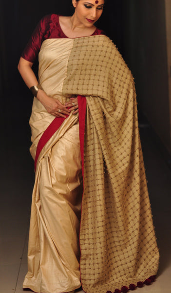 Chandri Mukherjee - Beige Tussar Sari and Blouse