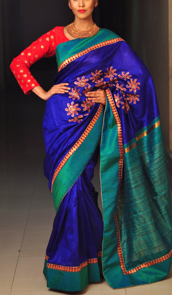 Chandri Mukherjee - Royal Blue and Green Silk Sari with Blouse