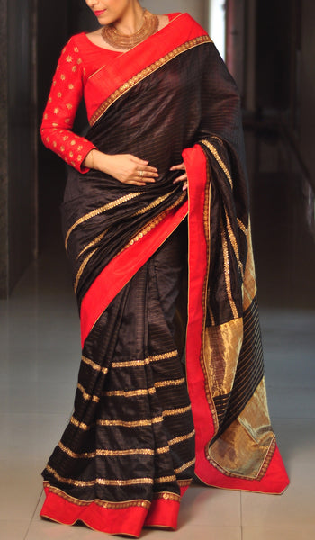 Chandri Mukherjee - Black Silk Sari and Red Blouse