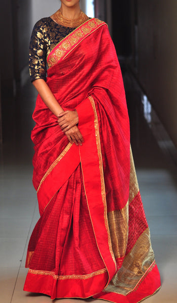 Chandri Mukherjee - Red Silk Sari with Navy Blue Blouse