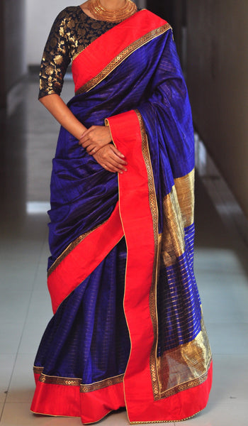 Chandri Mukherjee - Navy Blue Silk Sari with Blouse