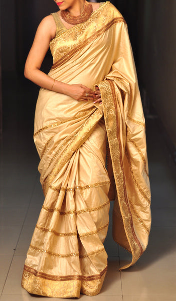 Chandri Mukherjee - Beige Tussar Sari with Gold Brocade Blouse