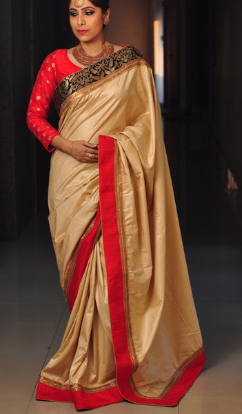 Chandri Mukherjee - Beige and Black Sari and Blouse
