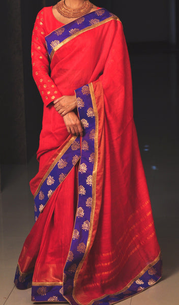 Chandri Mukherjee - Red and Violet Sari with Blouse