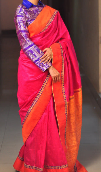 Chandri Mukherjee - Rani Pink and Orange Sari with Blouse