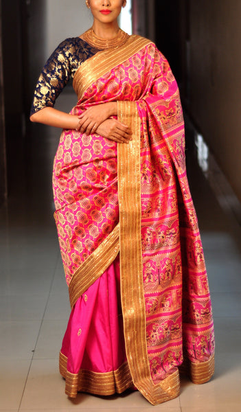 Chandri Mukherjee - Pink and Gold Sari with Blouse