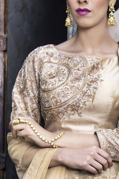 RAR Studio - Golden Chanderi Lengha Set