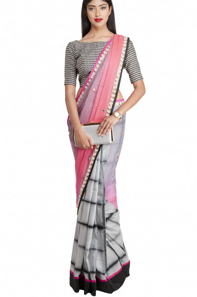 Priti Sahni - Grey and Pink Half and Half Saree with Blouse