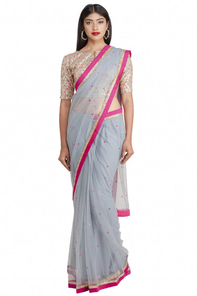 Priti Sahni - Grey Net Saree with Fuchsia Pink Accent and Blouse