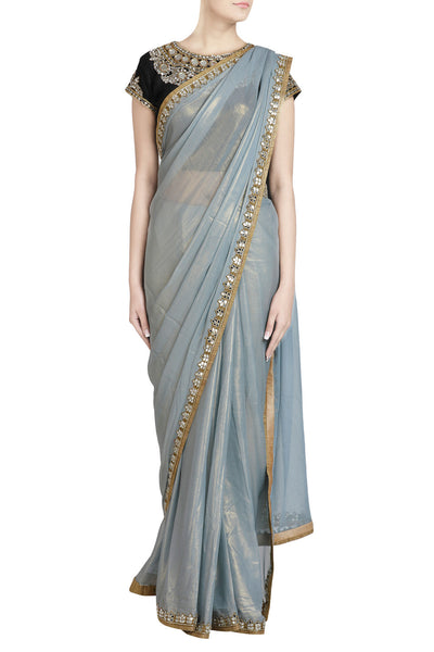 Priti Sahni - Grey Shimmer Saree with Mirror Work and Contrast Blouse